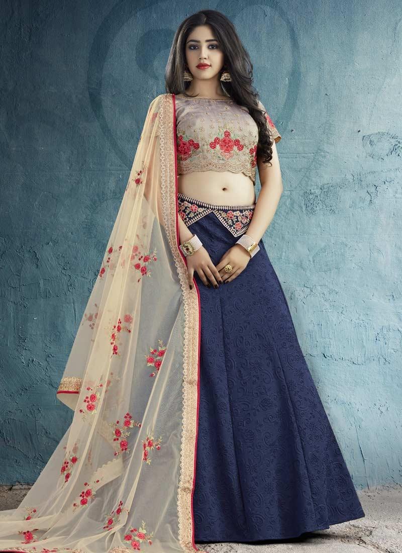 Silk Embroidered Work Trendy A Line Lehenga Choli