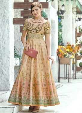 Silk Floor Length Trendy Gown For Party