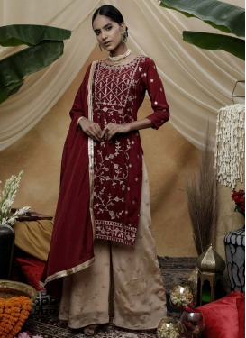 Silk Georgette Beige and Maroon Embroidered Work Palazzo Straight Salwar Suit