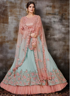 Silk Georgette Embroidered Work Aqua Blue and Salmon A Line Lehenga Choli