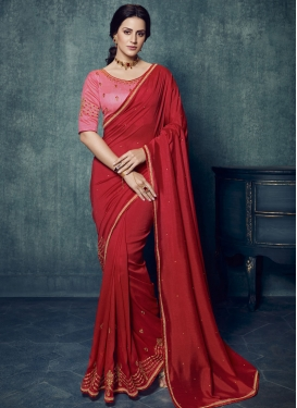 Silk Georgette Embroidered Work Contemporary Style Saree