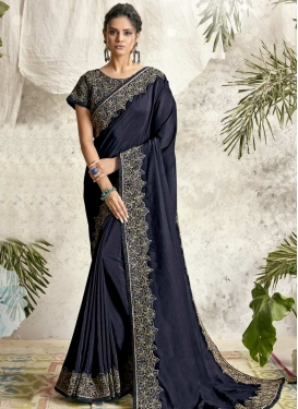 Silk Georgette Embroidered Work Designer Contemporary Saree