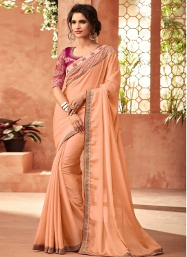 Silk Georgette Embroidered Work Designer Contemporary Style Saree