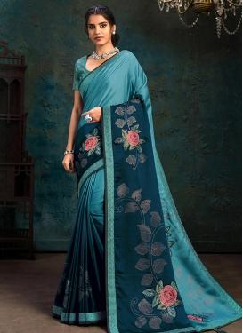 Silk Georgette Light Blue and Teal Digital Print Work Designer Contemporary Saree