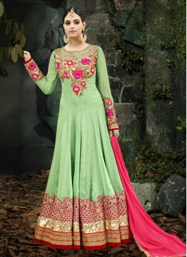 Silk Georgette Mint Green and Rose Pink Trendy Kalidar Salwar Kameez