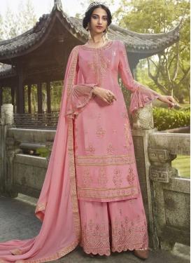 Silk Georgette Palazzo Style Pakistani Salwar Suit