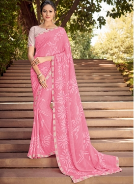 Silk Georgette Printed Classic Saree in Pink