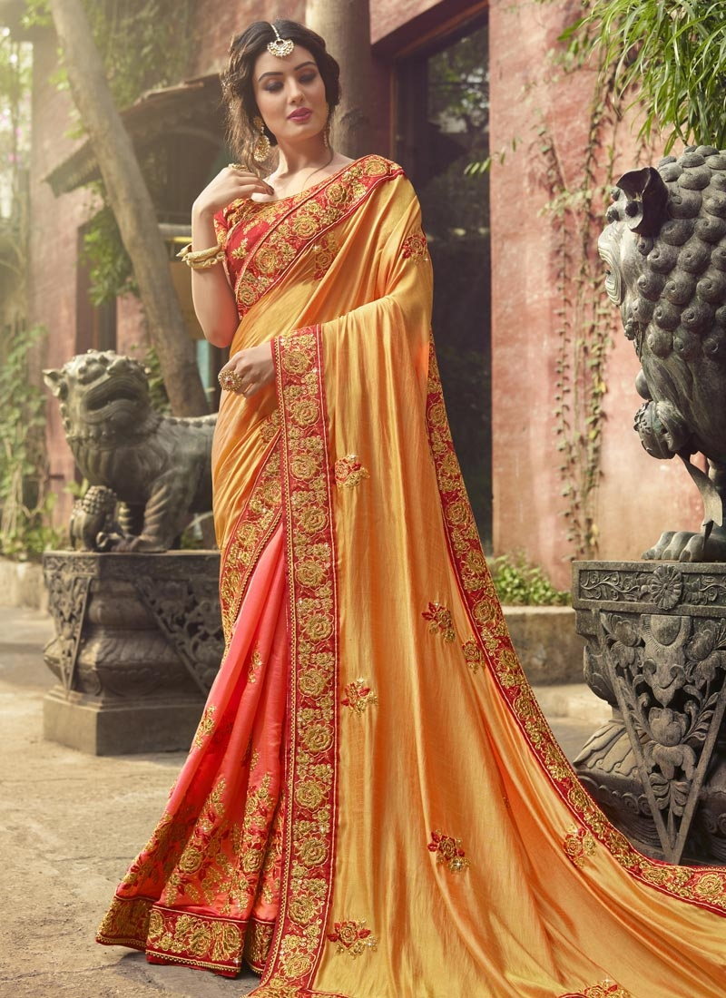 Silk Gold and Salmon Beads Work Half N Half Trendy Saree