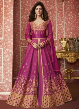 Silk Layered Designer Salwar Suit For Party