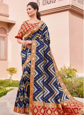 Silk Navy Blue and Red Designer Contemporary Style Saree