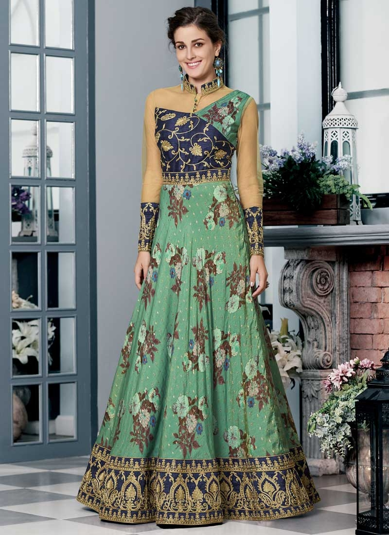 Silk Navy Blue and Sea Green Readymade Designer Gown For Festival