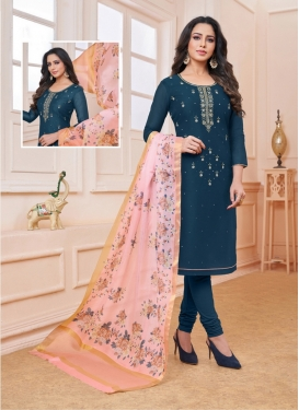 Silk Navy Blue Embroidered Churidar Salwar Kameez
