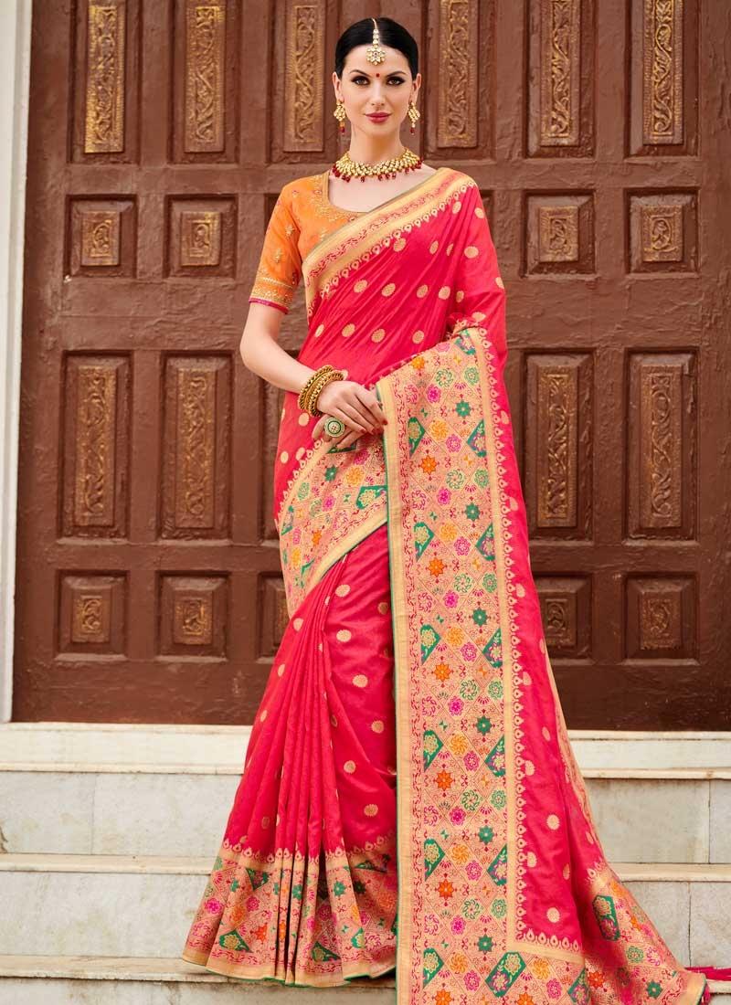 Silk Orange and Rose Pink Trendy Classic Saree