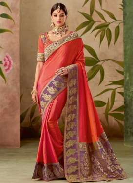Silk Orange and Violet Classic Saree