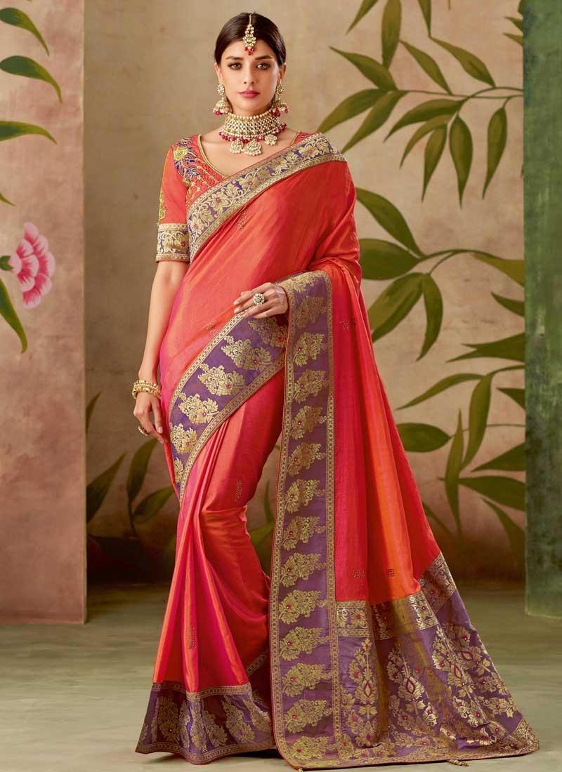 Silk Orange and Violet Classic Saree