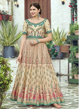 Silk Print Work Floor Length Gown