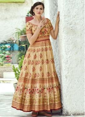 Silk Print Work Floor Length Gown