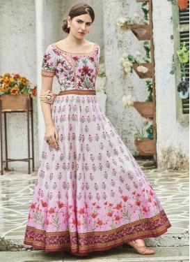 Silk Print Work Floor Length Trendy Gown