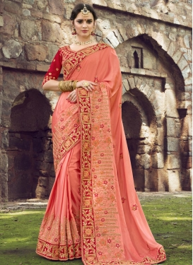 Silk Red and Salmon Trendy Classic Saree