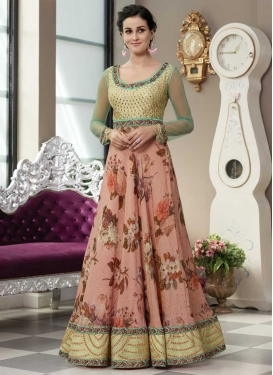 Silk Salmon and Turquoise Readymade Floor Length Gown