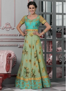Silk Sea Green and Turquoise Readymade Long Length Gown For Festival