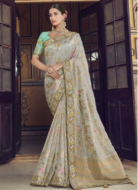 Silver Color and Turquoise Designer Contemporary Saree