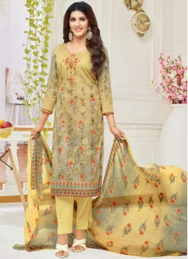 Silver Color and Yellow Pant Style Straight Salwar Suit For Casual
