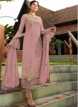 Simplistic Faux Georgette Resham Pink Pant Style Suit