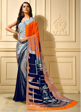 Snazzy Faux Crepe Multi Colour Printed Trendy Saree