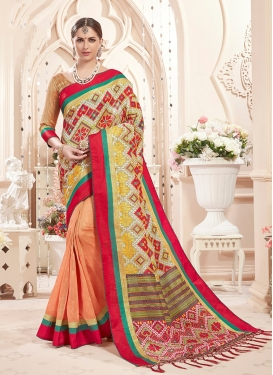 Snazzy Multi Colour Print Designer Saree