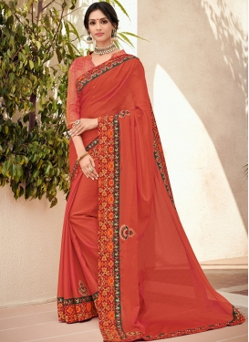 Snazzy Orange Faux Chiffon Trendy Saree