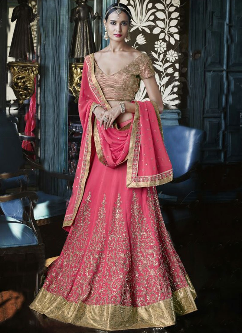 Snazzy Pure Georgette Lace Work Bridal Lehenga Choli