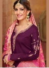 Snazzy Purple Cotton Silk Churidar Salwar Kameez - 1
