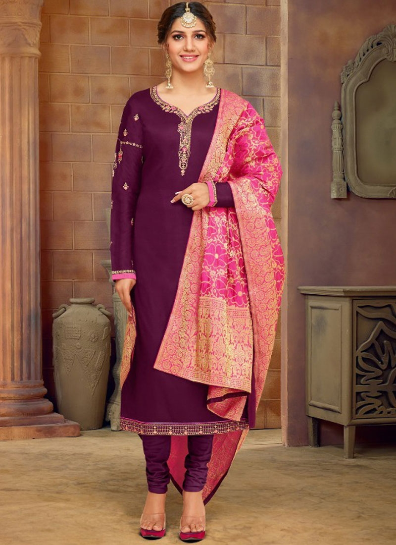 Snazzy Purple Cotton Silk Churidar Salwar Kameez