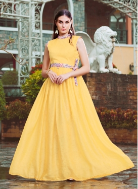 Snazzy Yellow Fancy Readymade Gown