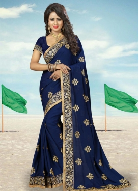 Sonorous Booti Work Faux Georgette Trendy Classic Saree