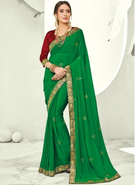 Sonorous Green Stone Trendy Saree