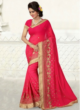 Sophisticated Rose Pink Color Party Wear Saree