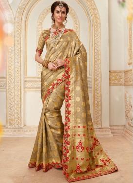 Sorcerous Beige Jacquard Silk Designer Traditional Saree