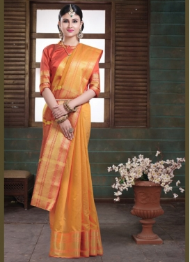 Sorcerous Mustard Woven Art Silk Traditional Saree
