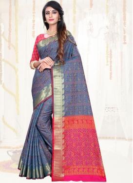Sorcerous Weaving Blue Art Silk Traditional Saree