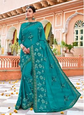 Sparkling Satin Georgette Classic Designer Saree