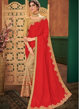 Specialised Art Silk Beige and Red Patch Border Half N Half  Saree