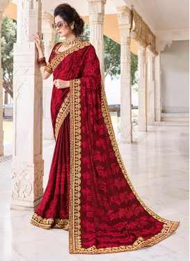 Specialised Faux Chiffon Patch Border Maroon Classic Saree
