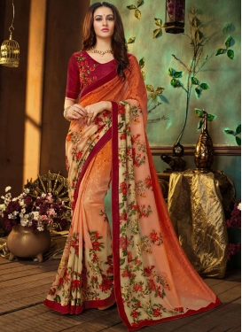 Specialised Faux Georgette Multi Colour Printed Saree