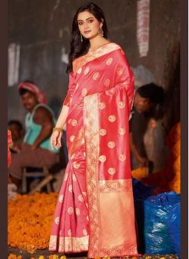 Specialised Salmon Satin Silk Traditional Saree
