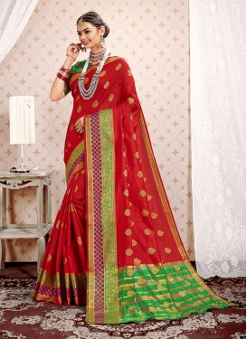 Specialised Weaving Red Traditional Saree