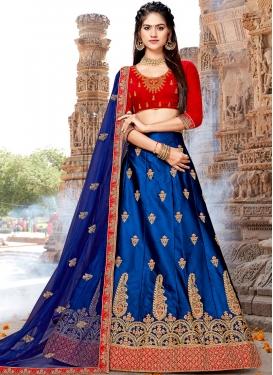 Spectacular Blue Satin Silk Trendy A Line Lehenga Choli