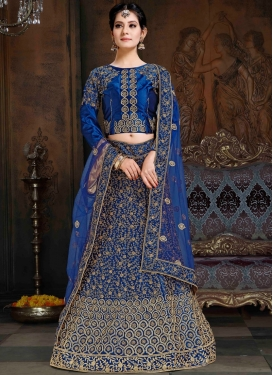 Spectacular Navy Blue Satin Lehenga Choli