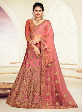 Spellbinding Salmon Party A Line Lehenga Choli